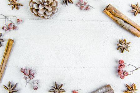 New year, Christmas, background. balls, cinnamon bump ash snow copy space
