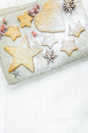New year, Christmas, background. balls, cinnamon bump ash snow gingerbread copy space Reklamní fotografie