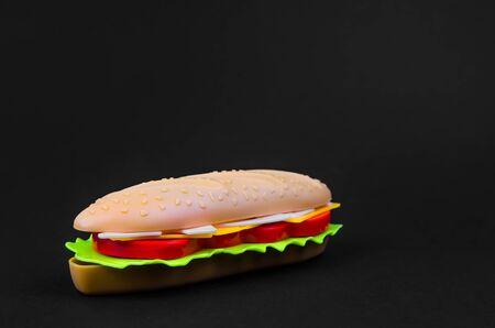 fast food. plastic hot dog on a black background. copy space