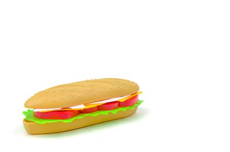Fast food. A plastic hamburger Isolated