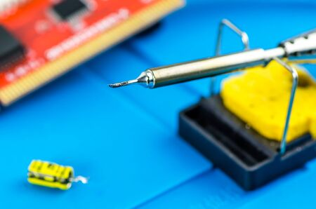 The electrician's workplace. Electronics. Schemes soldering iron Banco de Imagens