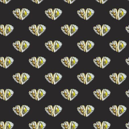heart-shaped rolls pattern on a black background. modern style isometric pattern 스톡 콘텐츠 - 133141392