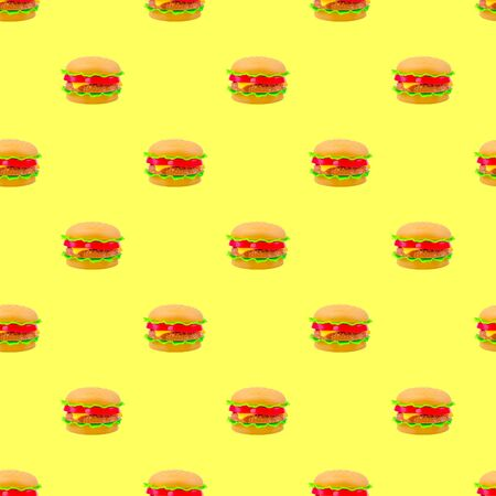 fast food pattern plastic burger on a yellow background. modern style isometric pattern