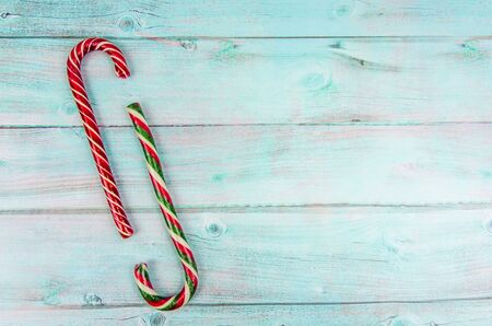 Christmas background. Two different Christmas candy canes. copy space