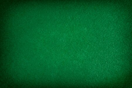 Dark green matte background of suede fabric, closeup. texture of seamless emerald woolen felt with vignette. 免版税图像