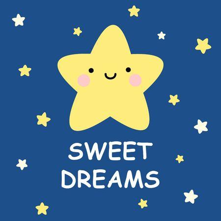 Cute vector sweet dreams card with cartoon stars on dark blue background Foto de archivo - 137478095