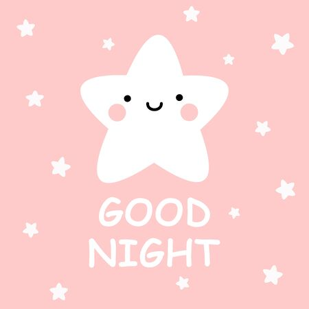 Cute vector good night card with cartoon stars on pink background Foto de archivo - 137478981