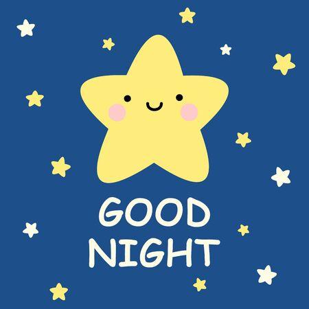 Cute vector good night card with cartoon stars