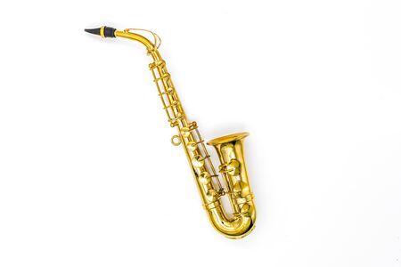 modèle de saxophone sur fond blanc Banque d'images