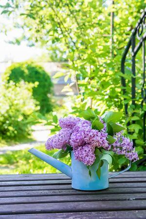 beautiful bouquet of lilacs in garden watering on wooden bridge Standard-Bild