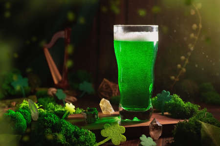 St. Patricks Day Green Beer pint over wooden background
