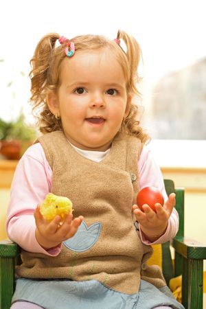 Little girl with easter egg and chicken Stock Photo - 2753420