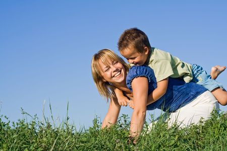Mother and son outdoors in summertime Stock Photo - 3482395