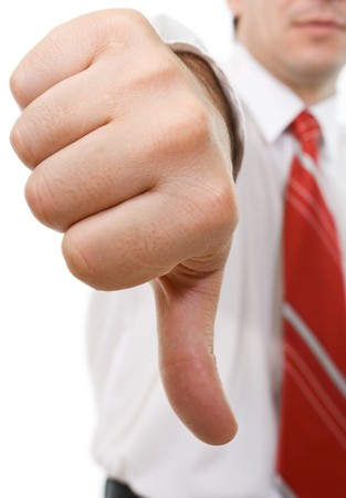 Businessman giving the thumbs down sign - isolated Stock Photo - 4152803