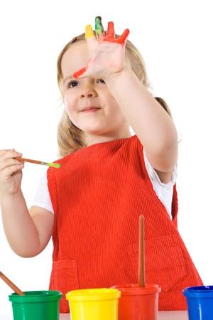 Happy little painter girl waving - isolated Stock Photo - 4143476