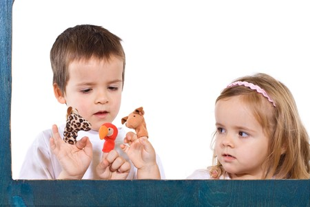 Children playing with finger puppets - isolated Stock Photo - 4209779