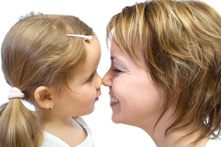 Mother and child touching noses - isolated, closeup Stock Photo - 4340596
