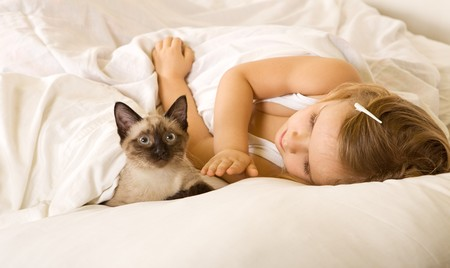 Little girl with her kitten laying in the bed