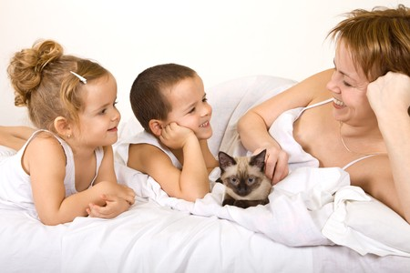 Woman and kids lazying in the bed with their kitten photo