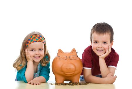 financial education: Kids with their expert piggy bank - financial education concept, isolated Stock Photo