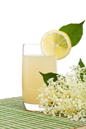 non alcoholic beverage: Elderberry flower flavored summer refreshment - a traditional non-alcoholic seasonal beverage in Eastern Europe Stock Photo