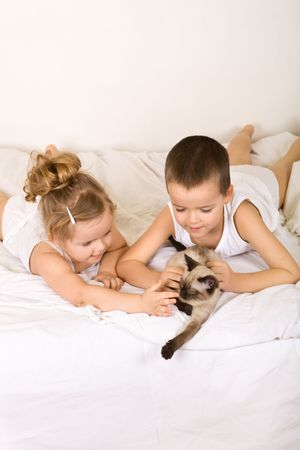 Happy kids with their kitten laying in bed
