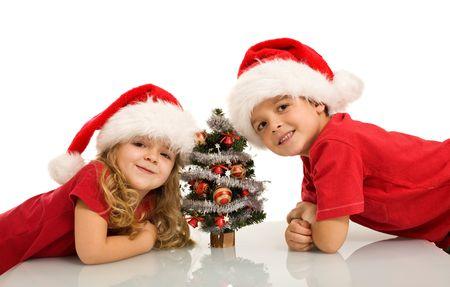 Happy kids with santa hats and small christmas tree - isolated photo