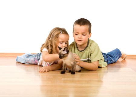Niños que sentar en el suelo, jugando con su nuevo gatito - aislado