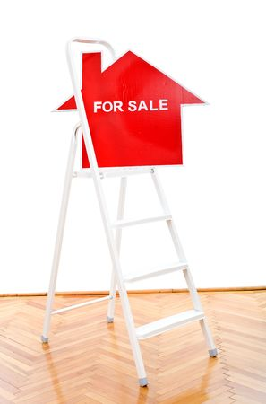 property ladder: New or renovated home for sale concept - with a sign on ladder