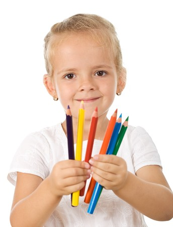 Little girl with colored pencils - isolated photo