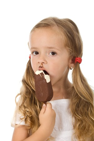 Little girl eating ice cream - isolated Stock Photo - 7857366