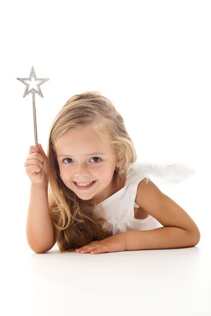 beautiful princess: Little angel fairy with magic wand smiling - isolated