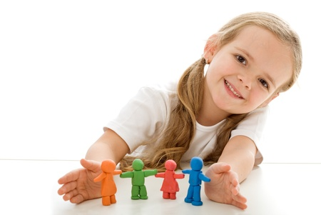 Little girl with colored clay figurines - happy family concept - isolated, copyspace
