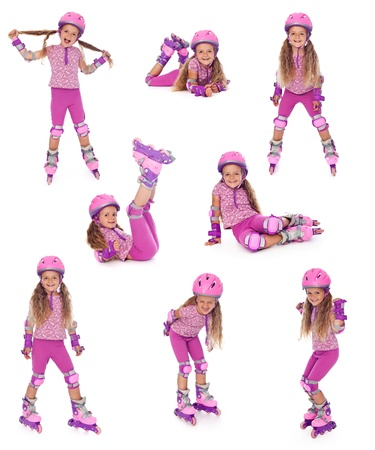 rollerskates: Happy roller skater girl collage, isolated