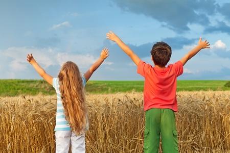 Kids inspire a breath of pure fresh nature photo