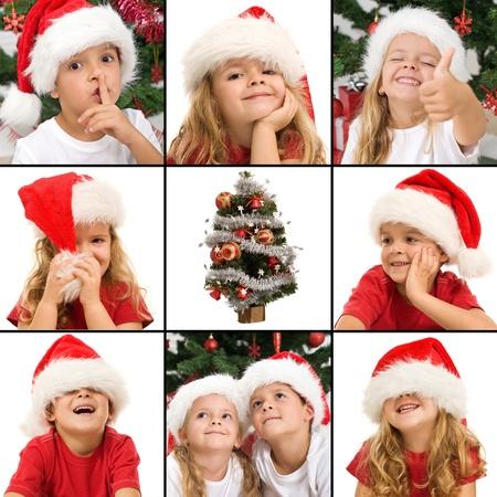 ni�os riendose: Expresiones de los ni�os en Navidad - un collage de maravilla, el misterio de risa y la diversi�n