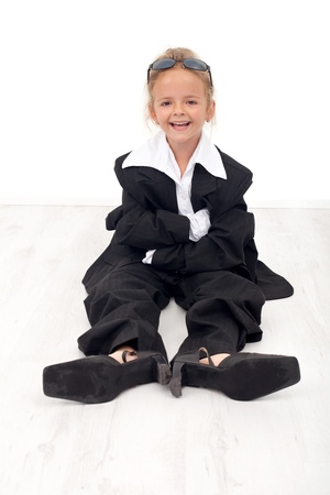 role playing: Happy business woman wannabe - little girl role playing Stock Photo