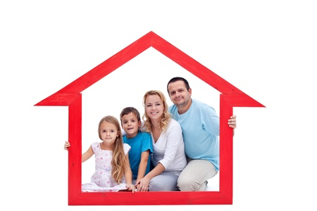 protect family: Family members in their home - real estate concept