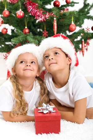 Smiling kids at christmas lazing in front of the decorated tree photo