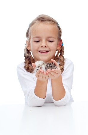 buddies: My little lovely buddies - girl and her hamsters