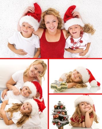 Happy christmas people collage smiling and having fun photo