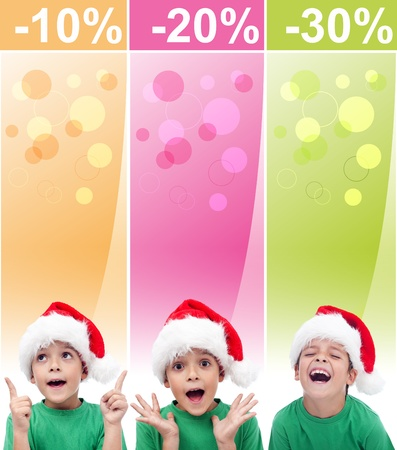 Crazy christmas sales banners with increasingly happy boy photo