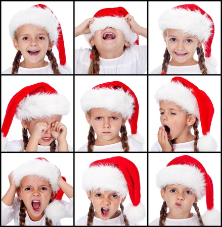 Various expressions of a little girl wearing santa hat at christmas time photo
