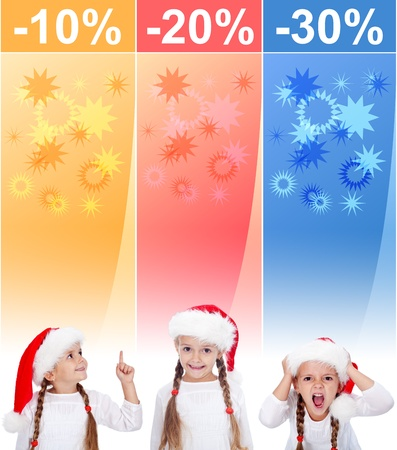 increasingly: Crazy christmas sale banners with increasingly excited little girl Stock Photo