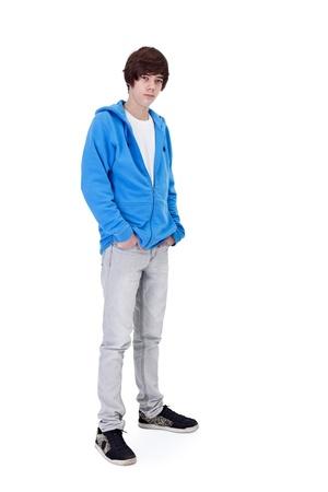 ni�o parado: Adolescente ni�o de pie - aislado