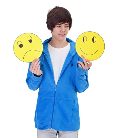 La elecci�n de ser feliz - joven adolescente con m�scaras alegres y tristes Foto de archivo - 12148724