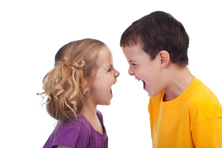 brother and sister: Raging kids - children shouting to each other, isolated