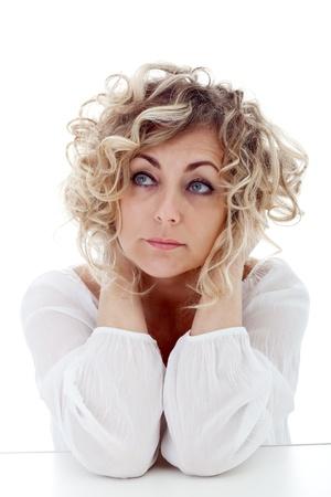 sexy mature women: Mature woman thinking - closeup portrait