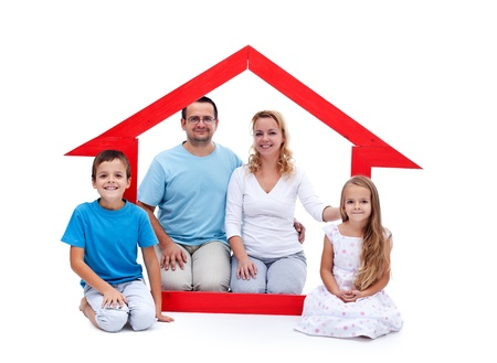 investment protection: Young family with two kids in their home concept