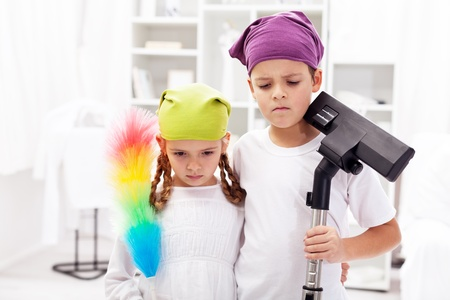 domestic chore: We hate these cleaning up days - upset kids in their room